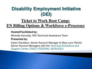 Hosted/Facilitated by:   Miranda Kennedy, NDI Technical Assistance Team  Presented by: