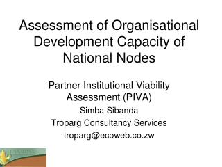 Assessment of Organisational Development Capacity of National Nodes
