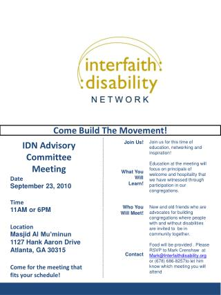 IDN Advisory Committee Meeting Date September 23, 2010 Time 11AM or 6PM Location