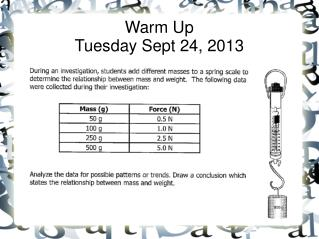 Warm Up Tuesday Sept 24, 2013