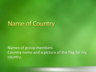 Name of Country