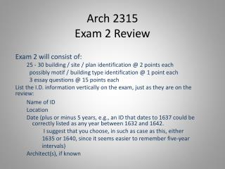 Arch 2315 Exam 2 Review