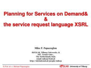 Planning for Services on Demand& & the service request language XSRL