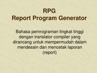 RPG Report Program Generator