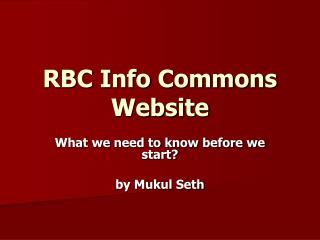 RBC Info Commons Website