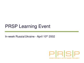 PRSP Learning Event