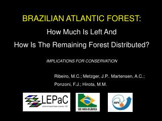 BRAZILIAN ATLANTIC FOREST: How Much Is Left And How Is The Remaining Forest Distributed?