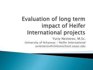 Evaluation of long term impact of Heifer International projects