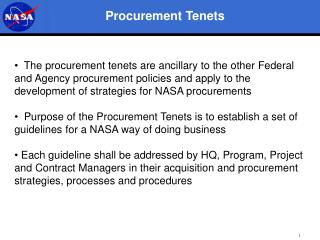 Procurement Tenets