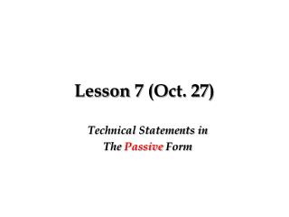 Lesson 7 (Oct. 27)