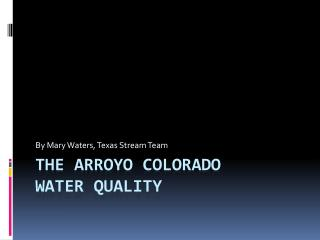 The Arroyo Colorado  Water Quality