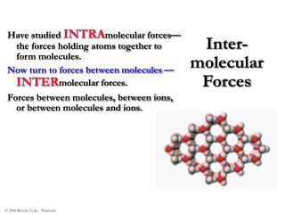 Inter- molecular Forces