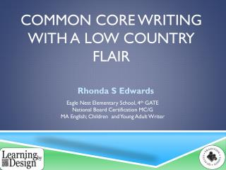 Common Core Writing with a Low country flair
