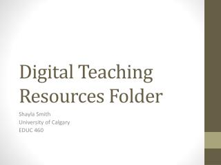 Digital Teaching Resources Folder