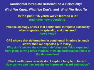 Continental Intraplate Deformation & Seismicity:
