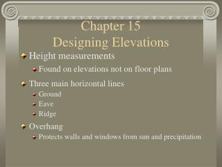 Chapter 15                     Designing Elevations