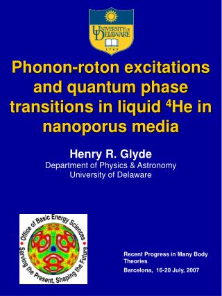 Phonon-roton excitations and quantum phase transitions in liquid  4 He in nanoporus media