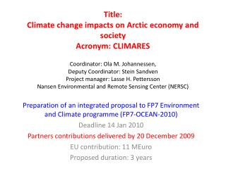 Preparation of an integrated proposal to  FP7 Environment and Climate programme (FP7-OCEAN-2010)
