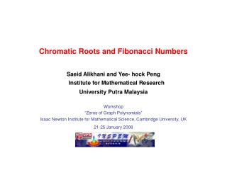 "Workshop  ""Zeros of Graph Polynomials"""
