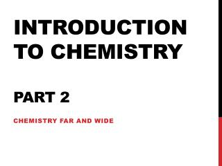 Introduction to chemistry Part 2