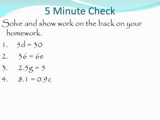 5 Minute Check