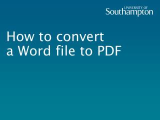 How to convert  a Word file to PDF