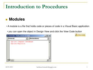 Introduction to Procedures