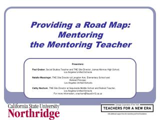 Providing a Road Map:  Mentoring  the Mentoring Teacher