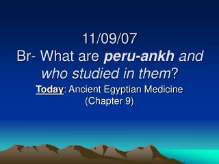 11/09/07 Br- What are  peru-ankh  and who studied in them ?