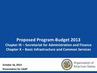 Proposed Program-Budget 2013  Chapter IX – Secretariat for Administration and Finance