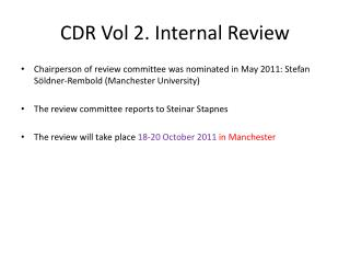 CDR Vol 2. Internal Review