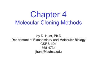 Chapter 4 Molecular Cloning Methods