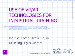 USE  OF  VR/AR TECHNOLOGIES FOR INDUSTRIAL TRAINING