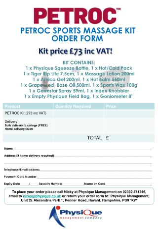 PETROC SPORTS MASSAGE KIT ORDER FORM