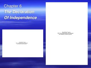 Chapter 6 The Declaration  Of Independence