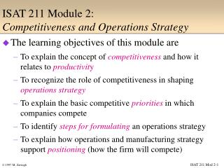 ISAT 211 Module 2: Competitiveness and Operations Strategy