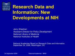 Research Data and Information: New Developments at NIH