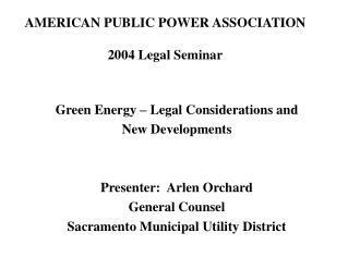 AMERICAN PUBLIC POWER ASSOCIATION 2004 Legal Seminar