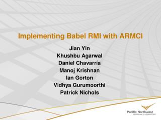 Implementing Babel RMI with ARMCI