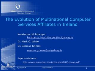 The Evolution of Multinational Computer Services Affiliates in Ireland