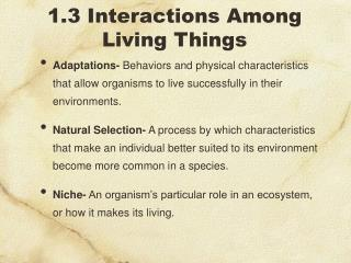 1.3 Interactions Among Living Things
