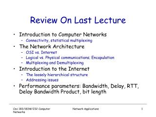 Review On Last Lecture
