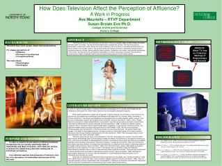How Does Television Affect the Perception of Affluence?  A Work in Progress
