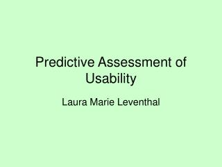 Predictive Assessment of Usability