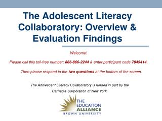 The Adolescent Literacy Collaboratory: Overview & Evaluation Findings