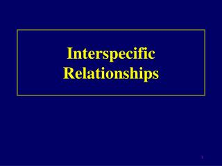 Interspecific Relationships
