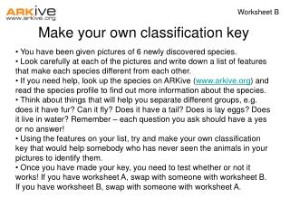 Make your own classification key