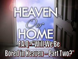 "F.A.Q - ""Will We Be  Bored in Heaven -- Part Two?"""