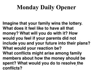 Monday Daily Opener
