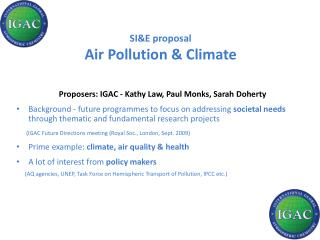 SI&E proposal Air Pollution & Climate